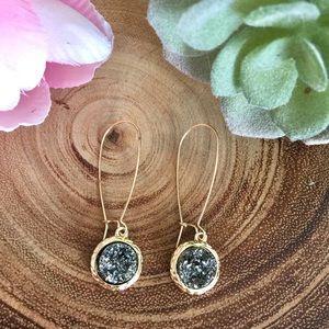 Jewelry - Simulated Druzy Dangle Wire Earrings - Dark Grey